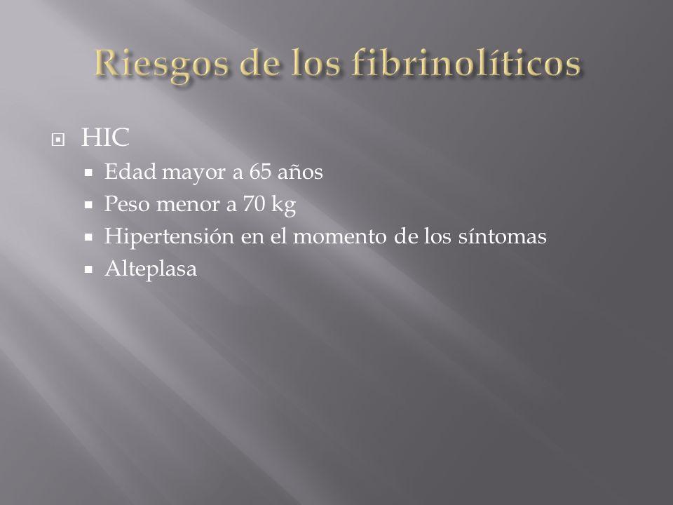 HIC Edad mayor a 65 años Peso menor a 70 kg Hipertensión en el momento de los síntomas Alteplasa