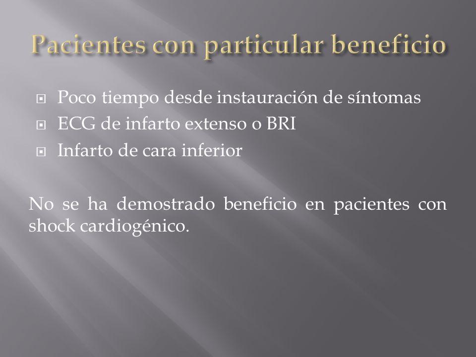 Poco tiempo desde instauración de síntomas ECG de infarto extenso o BRI Infarto de cara inferior No se ha demostrado beneficio en pacientes con shock