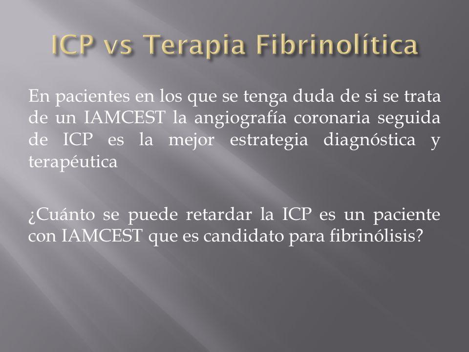 En pacientes en los que se tenga duda de si se trata de un IAMCEST la angiografía coronaria seguida de ICP es la mejor estrategia diagnóstica y terapé