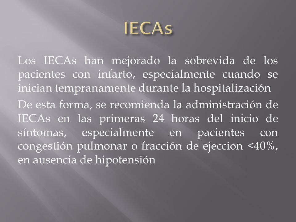 Los IECAs han mejorado la sobrevida de los pacientes con infarto, especialmente cuando se inician tempranamente durante la hospitalización De esta for