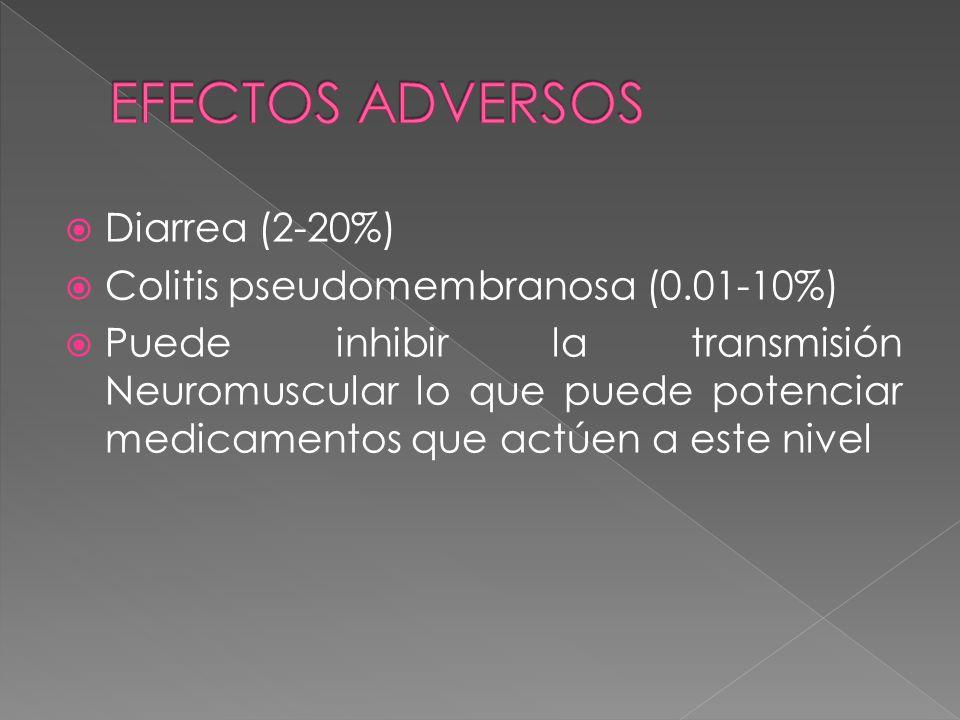 Diarrea (2-20%) Colitis pseudomembranosa (0.01-10%) Puede inhibir la transmisión Neuromuscular lo que puede potenciar medicamentos que actúen a este n