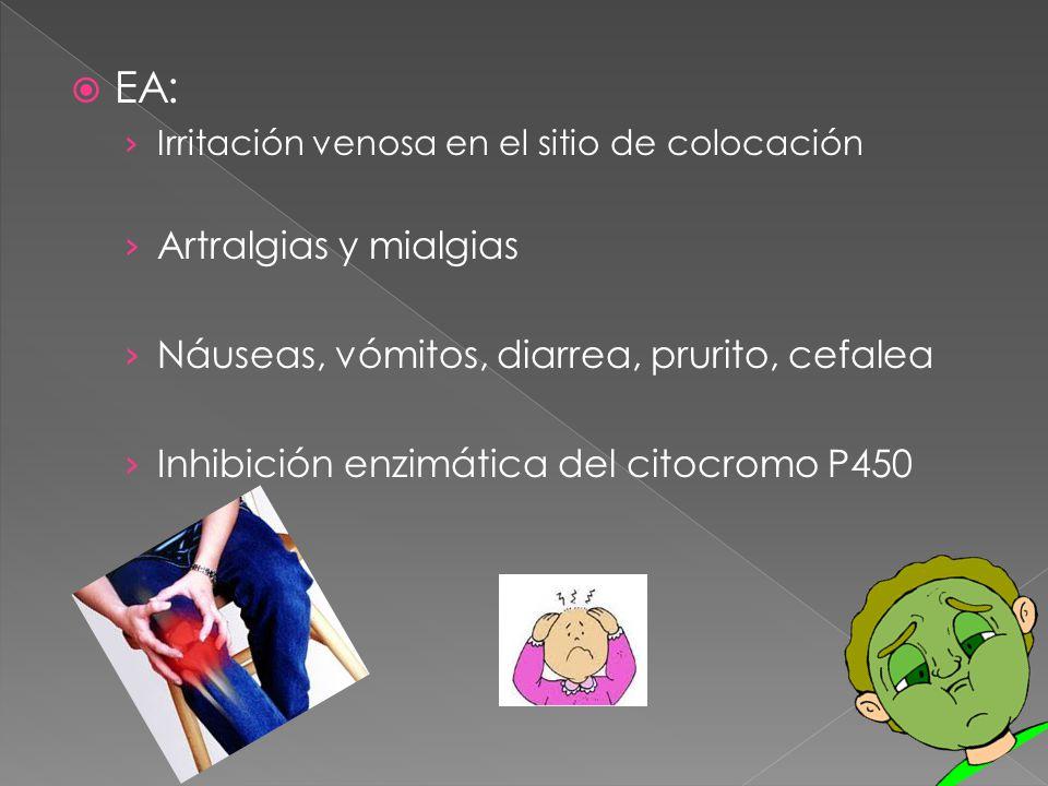 EA: Irritación venosa en el sitio de colocación Artralgias y mialgias Náuseas, vómitos, diarrea, prurito, cefalea Inhibición enzimática del citocromo