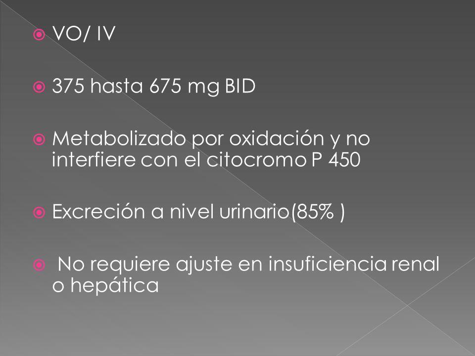 VO/ IV 375 hasta 675 mg BID Metabolizado por oxidación y no interfiere con el citocromo P 450 Excreción a nivel urinario(85% ) No requiere ajuste en i