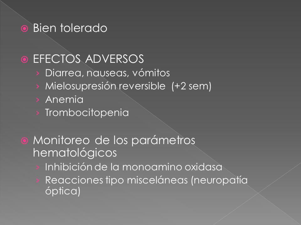 Bien tolerado EFECTOS ADVERSOS Diarrea, nauseas, vómitos Mielosupresión reversible (+2 sem) Anemia Trombocitopenia Monitoreo de los parámetros hematol