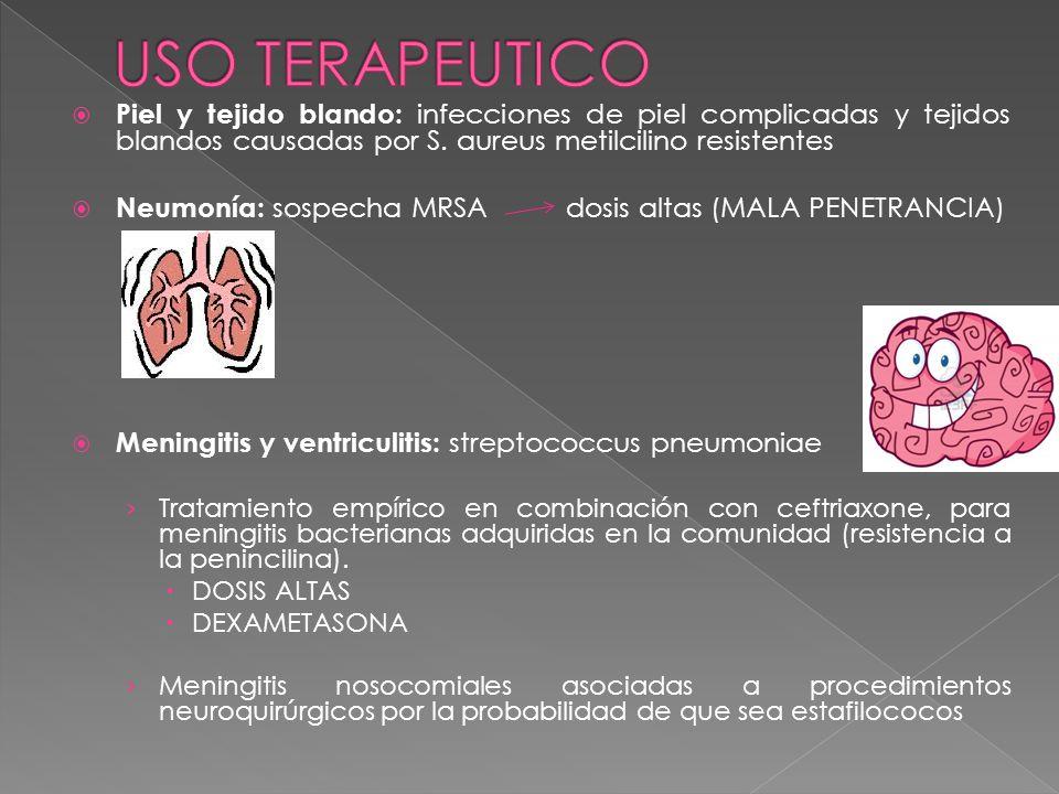 Piel y tejido blando: infecciones de piel complicadas y tejidos blandos causadas por S. aureus metilcilino resistentes Neumonía: sospecha MRSA dosis a