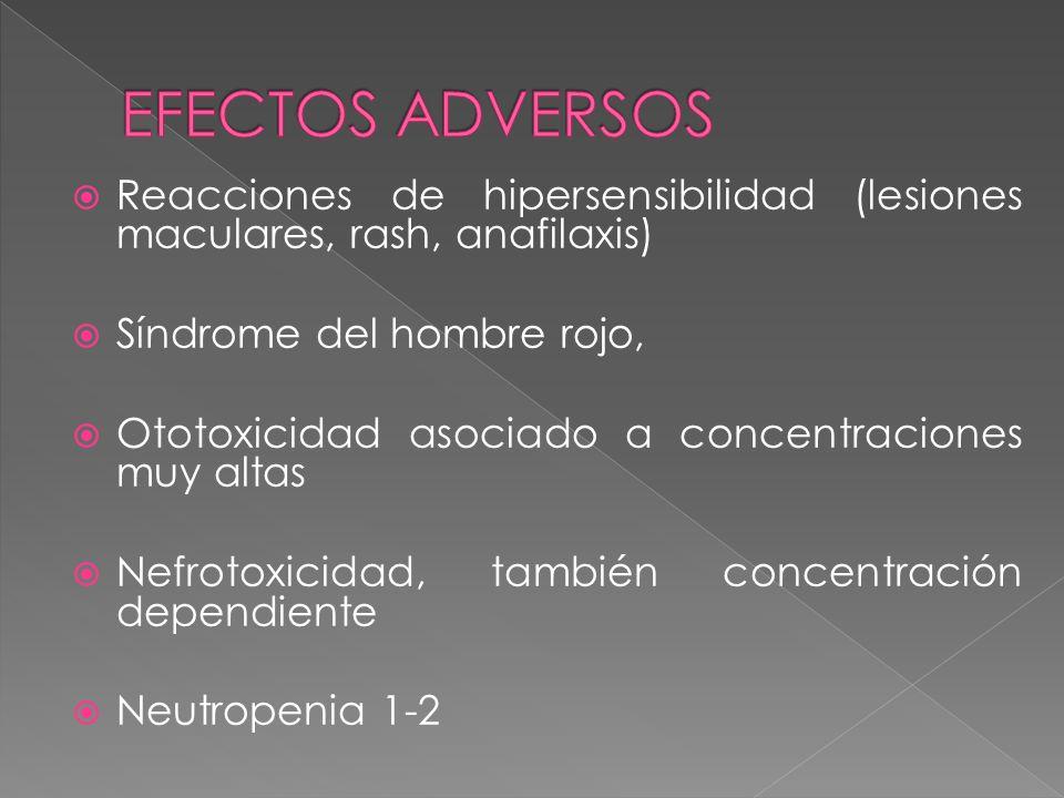 Reacciones de hipersensibilidad (lesiones maculares, rash, anafilaxis) Síndrome del hombre rojo, Ototoxicidad asociado a concentraciones muy altas Nef