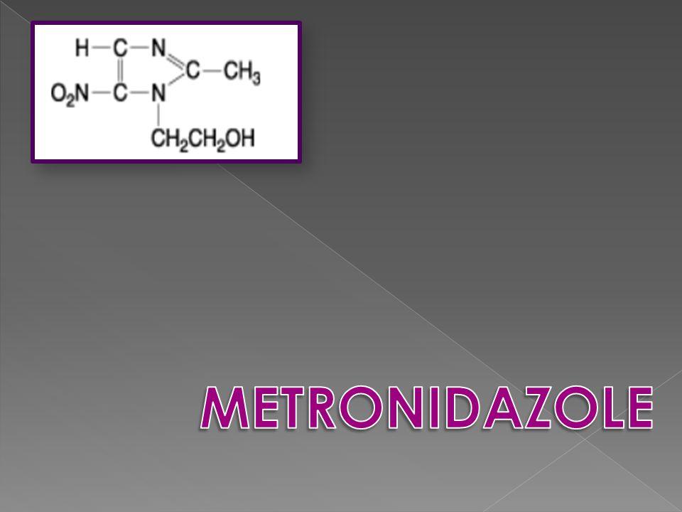 Droga nitroimidazólica 1959, Tricomona vaginalis Actividad antibacteriana contra bacterias anaerobias además de los protozoarios Amebas Giardia Helicobacter Campylobacter