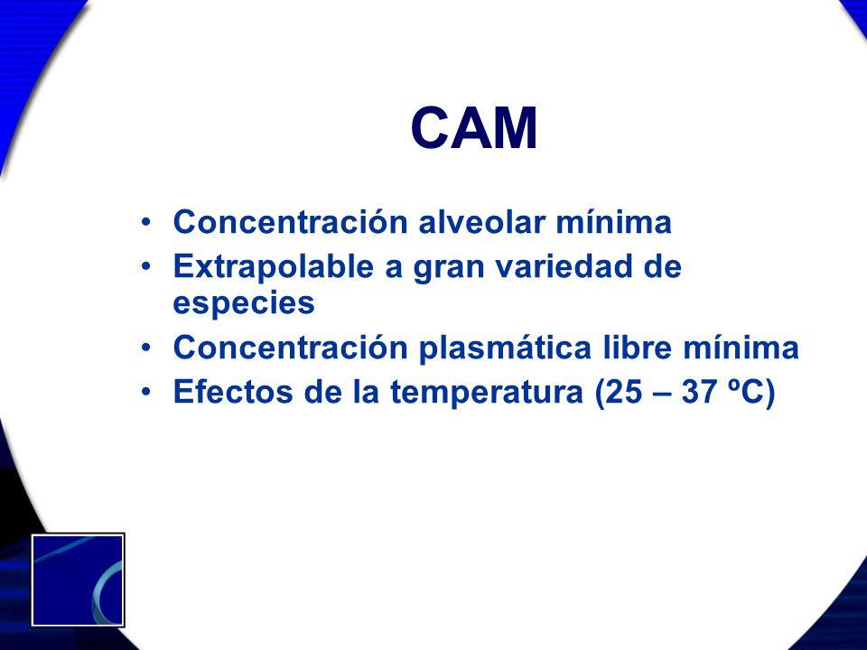 CAM Concentración alveolar mínima Extrapolable a gran variedad de especies Concentración plasmática libre mínima Efectos de la temperatura (25 – 37 ºC