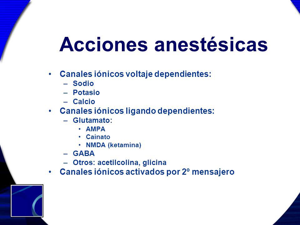 Acciones anestésicas Canales iónicos voltaje dependientes: –Sodio –Potasio –Calcio Canales iónicos ligando dependientes: –Glutamato: AMPA Cainato NMDA
