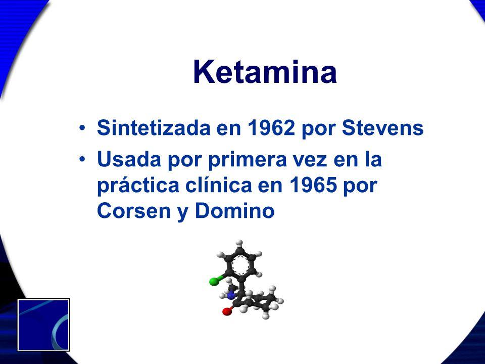 Ketamina Sintetizada en 1962 por Stevens Usada por primera vez en la práctica clínica en 1965 por Corsen y Domino