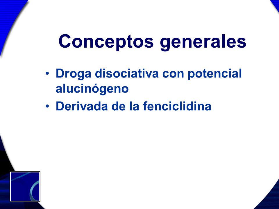 Conceptos generales Droga disociativa con potencial alucinógeno Derivada de la fenciclidina