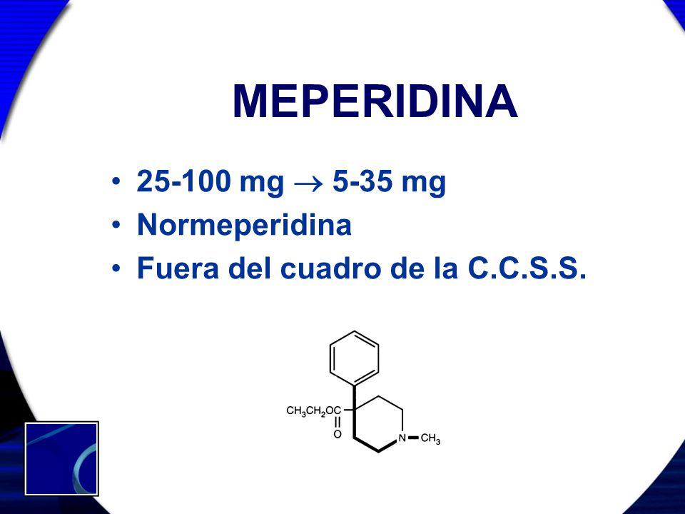 MEPERIDINA 25-100 mg 5-35 mg Normeperidina Fuera del cuadro de la C.C.S.S.