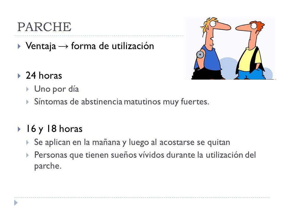 PARCHE Ventaja forma de utilización 24 horas Uno por día Síntomas de abstinencia matutinos muy fuertes.