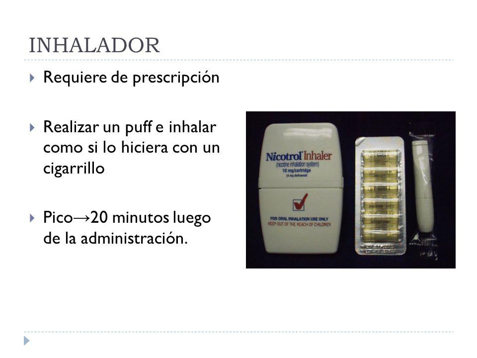 INHALADOR Requiere de prescripción Realizar un puff e inhalar como si lo hiciera con un cigarrillo Pico 20 minutos luego de la administración.