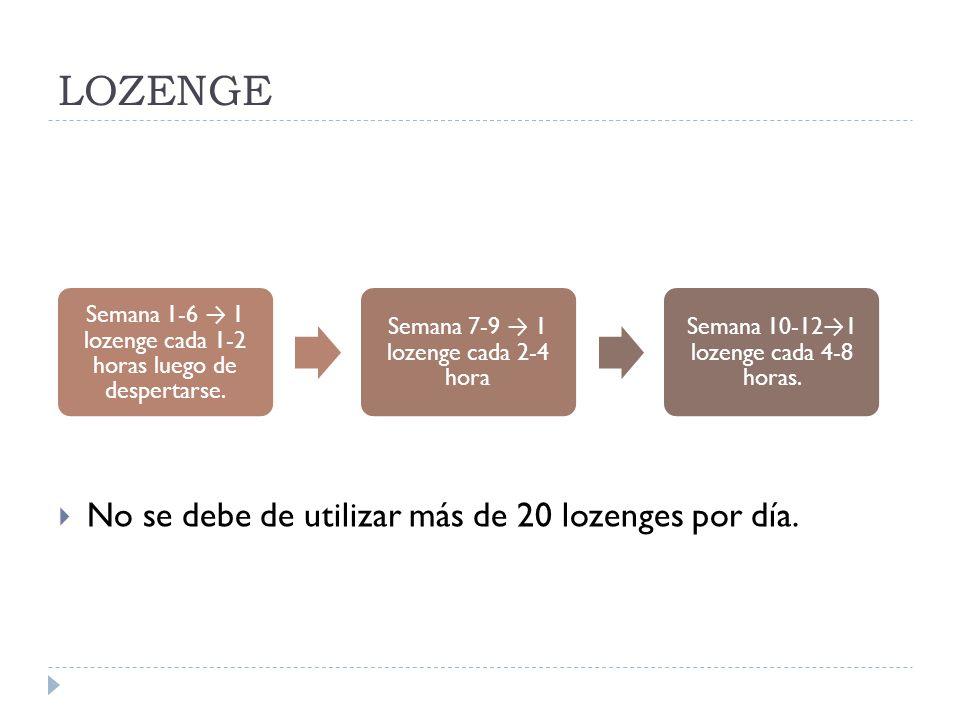 LOZENGE No se debe de utilizar más de 20 lozenges por día. Semana 1-6 1 lozenge cada 1-2 horas luego de despertarse. Semana 7-9 1 lozenge cada 2-4 hor