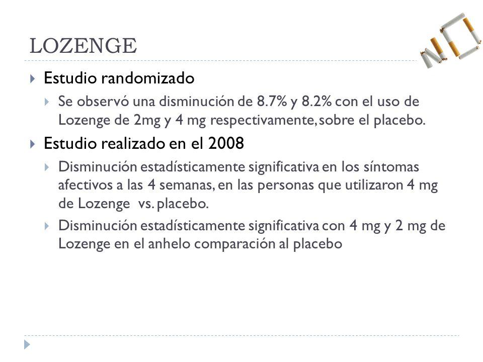 LOZENGE Estudio randomizado Se observó una disminución de 8.7% y 8.2% con el uso de Lozenge de 2mg y 4 mg respectivamente, sobre el placebo.