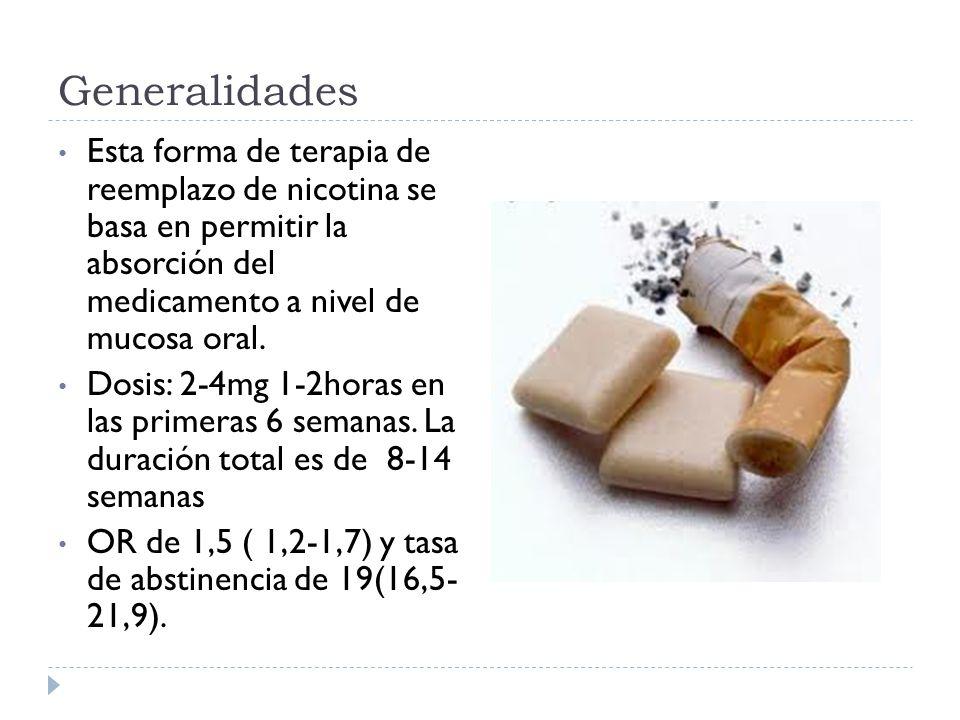 Generalidades Esta forma de terapia de reemplazo de nicotina se basa en permitir la absorción del medicamento a nivel de mucosa oral. Dosis: 2-4mg 1-2