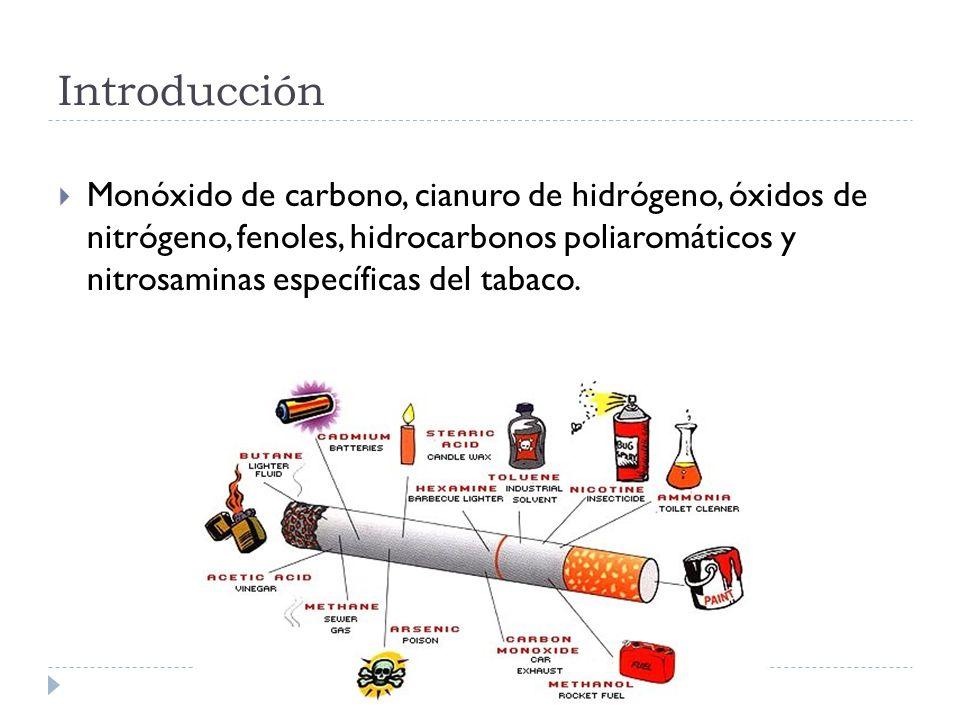 Monóxido de carbono, cianuro de hidrógeno, óxidos de nitrógeno, fenoles, hidrocarbonos poliaromáticos y nitrosaminas específicas del tabaco.