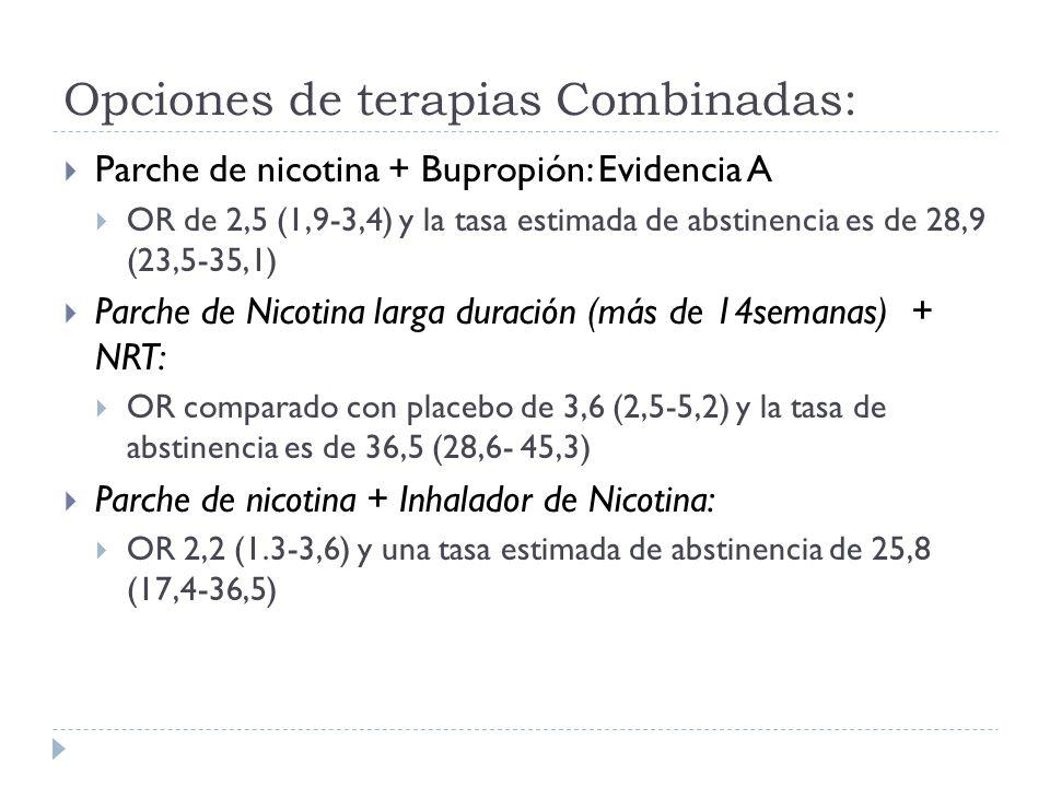 Opciones de terapias Combinadas: Parche de nicotina + Bupropión: Evidencia A OR de 2,5 (1,9-3,4) y la tasa estimada de abstinencia es de 28,9 (23,5-35,1) Parche de Nicotina larga duración (más de 14semanas) + NRT: OR comparado con placebo de 3,6 (2,5-5,2) y la tasa de abstinencia es de 36,5 (28,6- 45,3) Parche de nicotina + Inhalador de Nicotina: OR 2,2 (1.3-3,6) y una tasa estimada de abstinencia de 25,8 (17,4-36,5)