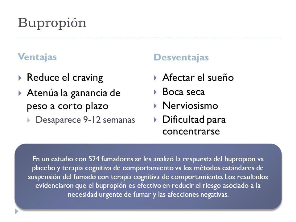 Bupropión Ventajas Desventajas Reduce el craving Atenúa la ganancia de peso a corto plazo Desaparece 9-12 semanas Afectar el sueño Boca seca Nerviosis