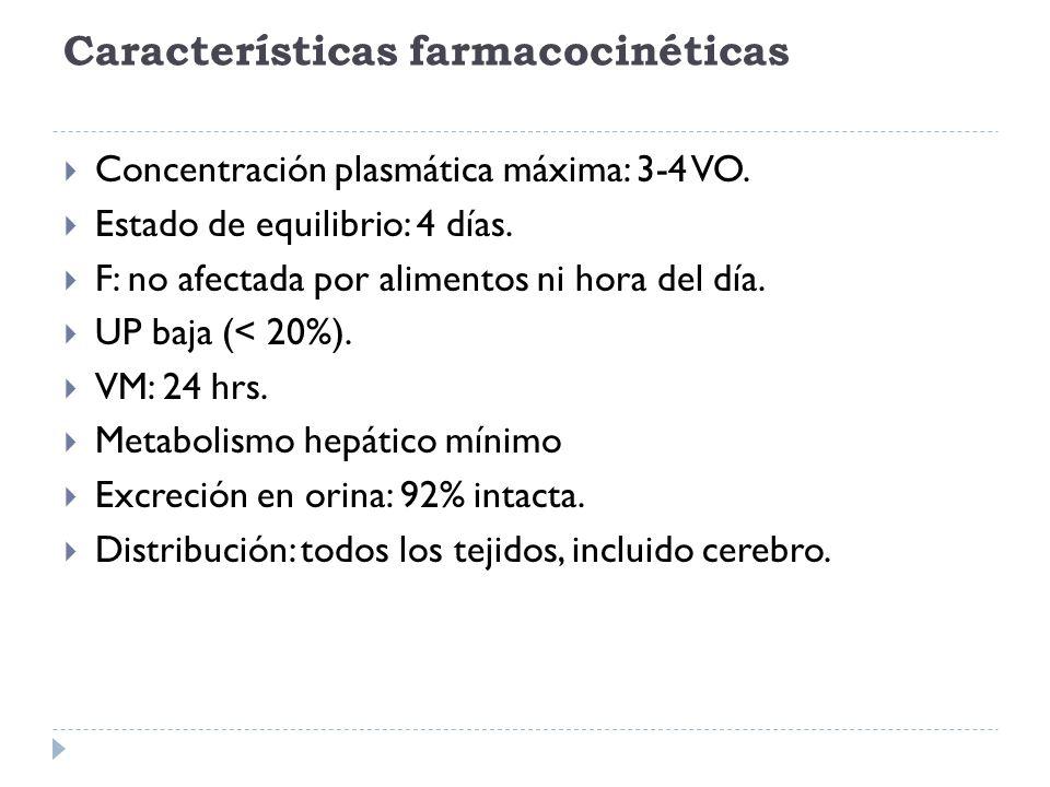 Características farmacocinéticas Concentración plasmática máxima: 3-4 VO. Estado de equilibrio: 4 días. F: no afectada por alimentos ni hora del día.