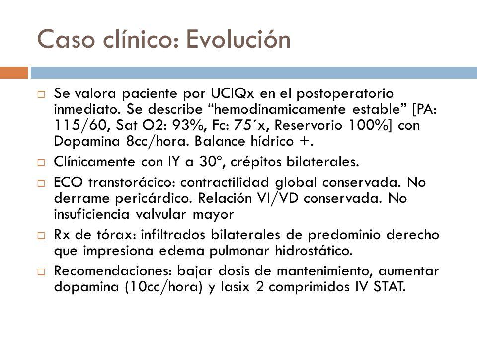 Caso clínico: Evolución Se valora paciente por UCIQx en el postoperatorio inmediato. Se describe hemodinamicamente estable [PA: 115/60, Sat O2: 93%, F