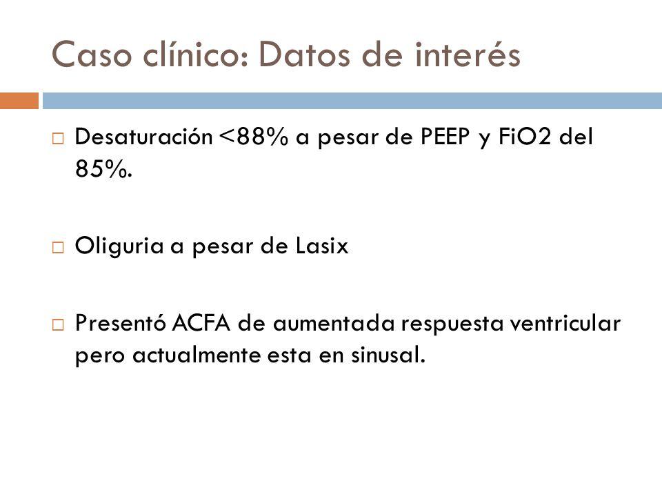 Caso clínico: Datos de interés Desaturación <88% a pesar de PEEP y FiO2 del 85%. Oliguria a pesar de Lasix Presentó ACFA de aumentada respuesta ventri