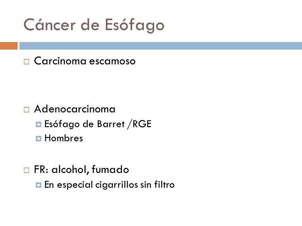 Cáncer de Esófago Carcinoma escamoso Adenocarcinoma Esófago de Barret /RGE Hombres FR: alcohol, fumado En especial cigarrillos sin filtro