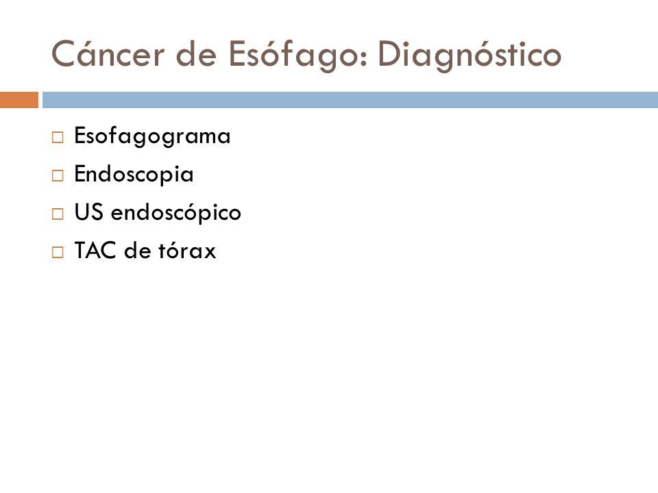Cáncer de Esófago: Diagnóstico Esofagograma Endoscopia US endoscópico TAC de tórax
