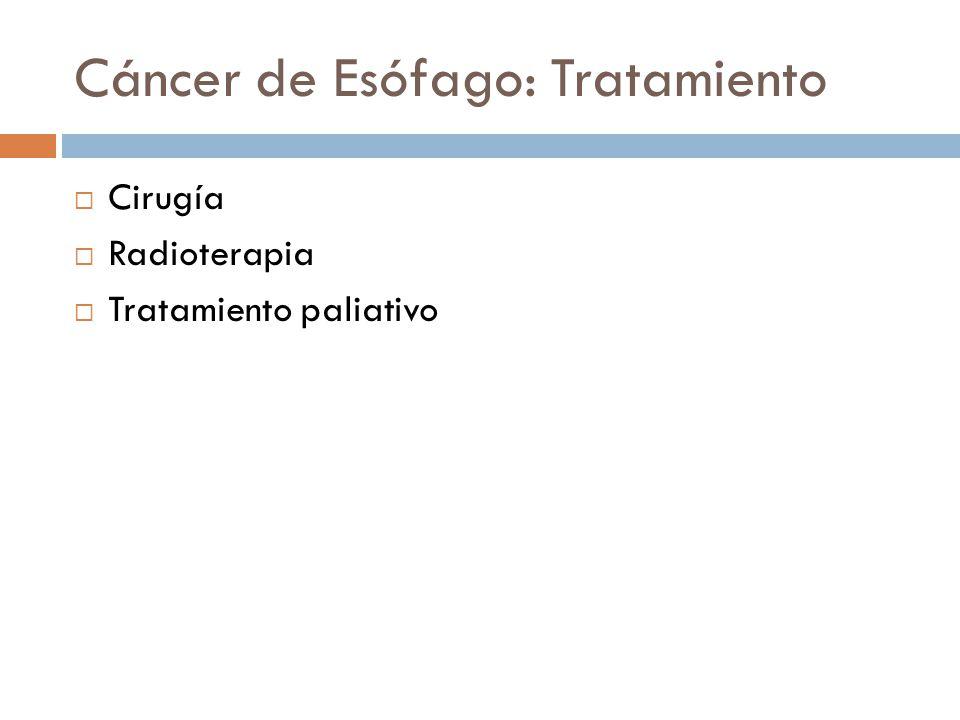Cáncer de Esófago: Tratamiento Cirugía Radioterapia Tratamiento paliativo