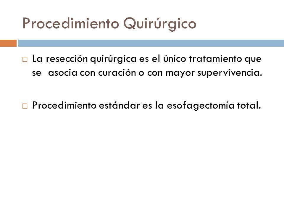 Procedimiento Quirúrgico La resección quirúrgica es el único tratamiento que se asocia con curación o con mayor supervivencia. Procedimiento estándar