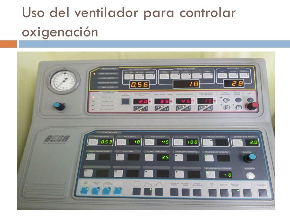 Uso del ventilador para controlar oxigenación FIO2 PEEP *El modo, la f, y el VC tienen efecto moderado sobre la PAO2