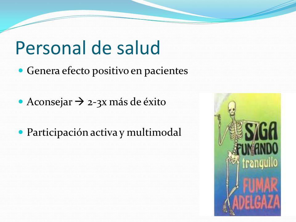 Personal de salud Genera efecto positivo en pacientes Aconsejar 2-3x más de éxito Participación activa y multimodal
