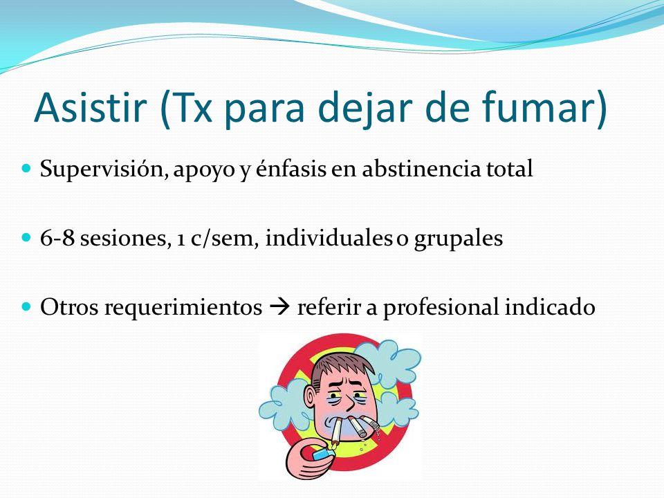 Asistir (Tx para dejar de fumar) Supervisión, apoyo y énfasis en abstinencia total 6-8 sesiones, 1 c/sem, individuales o grupales Otros requerimientos