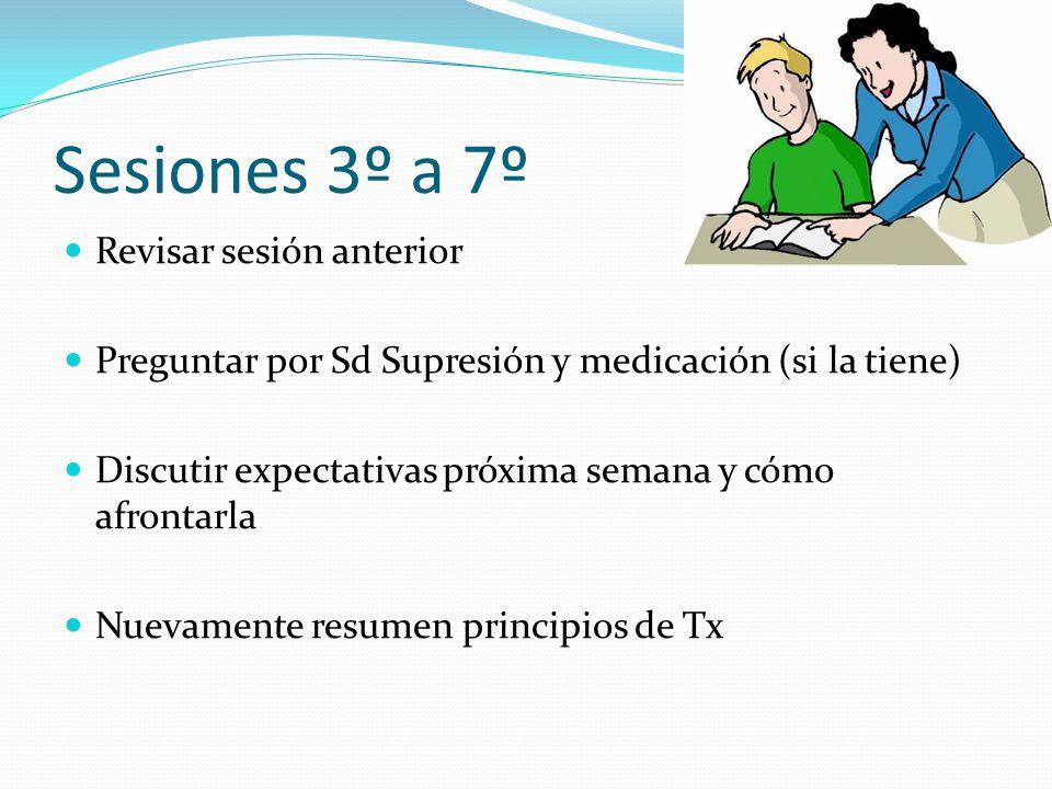 Sesiones 3º a 7º Revisar sesión anterior Preguntar por Sd Supresión y medicación (si la tiene) Discutir expectativas próxima semana y cómo afrontarla