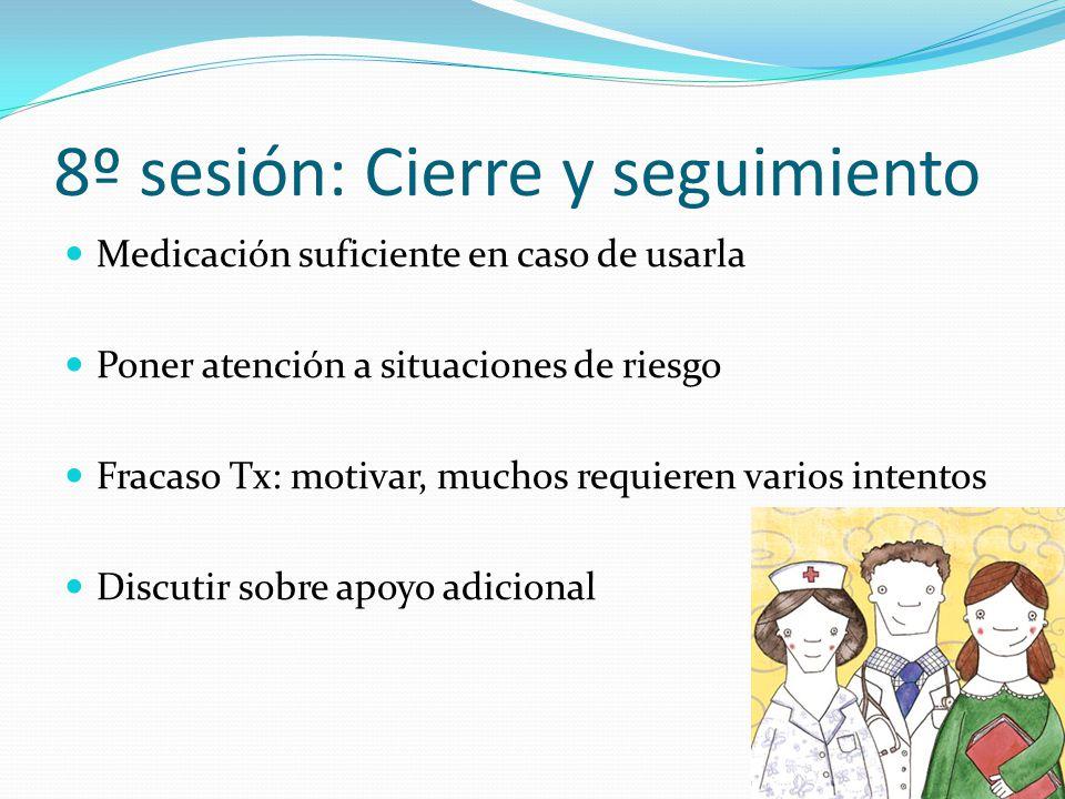 8º sesión: Cierre y seguimiento Medicación suficiente en caso de usarla Poner atención a situaciones de riesgo Fracaso Tx: motivar, muchos requieren v