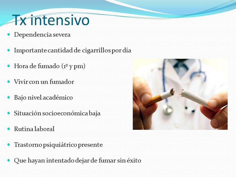 Tx intensivo Dependencia severa Importante cantidad de cigarrillos por día Hora de fumado (1º y pm) Vivir con un fumador Bajo nivel académico Situació