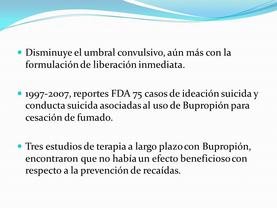 Disminuye el umbral convulsivo, aún más con la formulación de liberación inmediata. 1997-2007, reportes FDA 75 casos de ideación suicida y conducta su