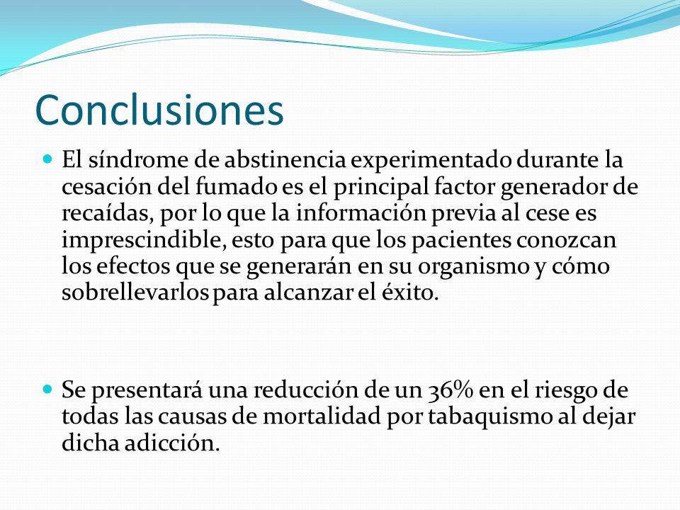 Conclusiones El síndrome de abstinencia experimentado durante la cesación del fumado es el principal factor generador de recaídas, por lo que la infor