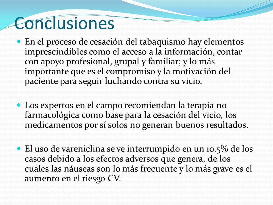 Conclusiones En el proceso de cesación del tabaquismo hay elementos imprescindibles como el acceso a la información, contar con apoyo profesional, gru
