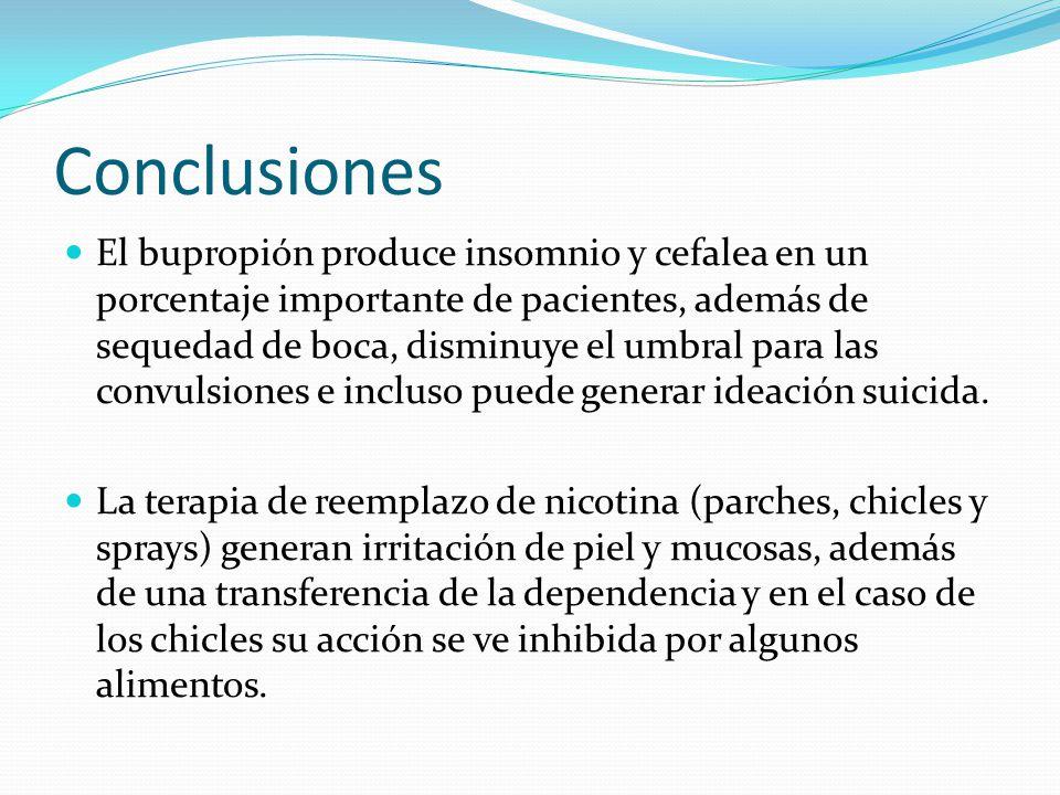Conclusiones El bupropión produce insomnio y cefalea en un porcentaje importante de pacientes, además de sequedad de boca, disminuye el umbral para la