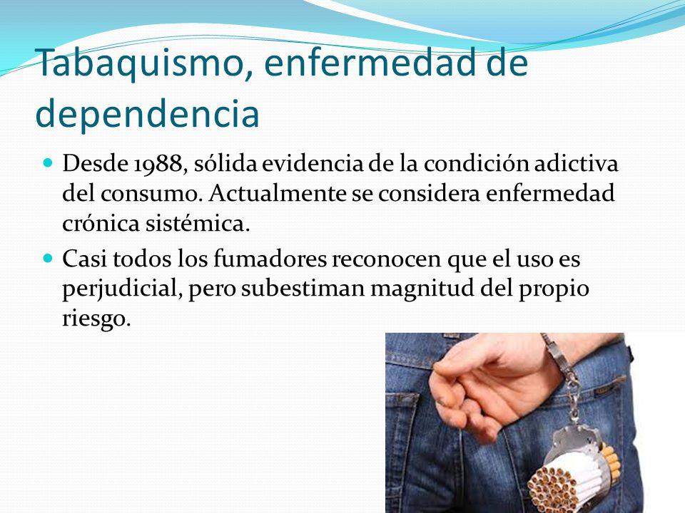Tabaquismo, enfermedad de dependencia Desde 1988, sólida evidencia de la condición adictiva del consumo. Actualmente se considera enfermedad crónica s