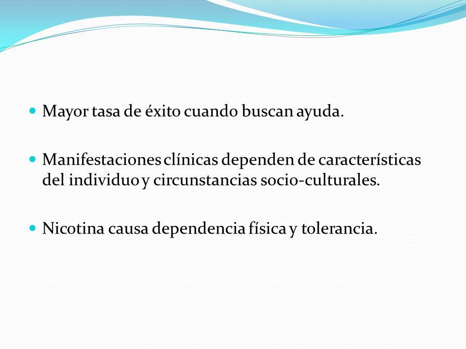 Mayor tasa de éxito cuando buscan ayuda. Manifestaciones clínicas dependen de características del individuo y circunstancias socio-culturales. Nicotin