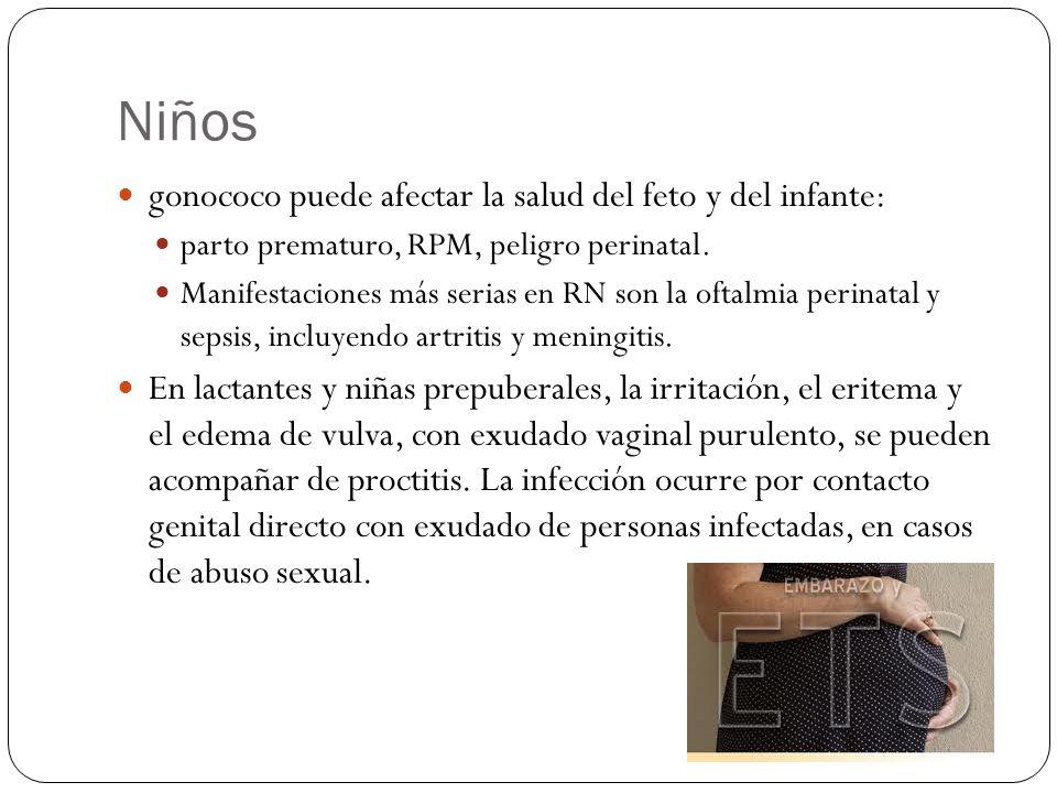 Niños gonococo puede afectar la salud del feto y del infante: parto prematuro, RPM, peligro perinatal. Manifestaciones más serias en RN son la oftalmi