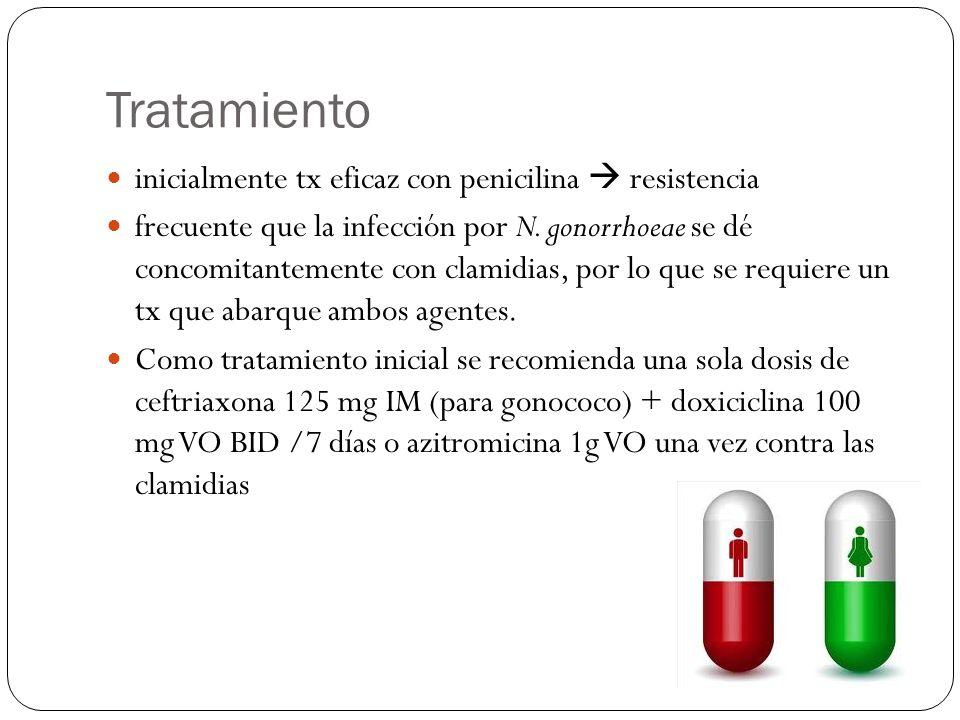 Tratamiento inicialmente tx eficaz con penicilina resistencia frecuente que la infección por N. gonorrhoeae se dé concomitantemente con clamidias, por