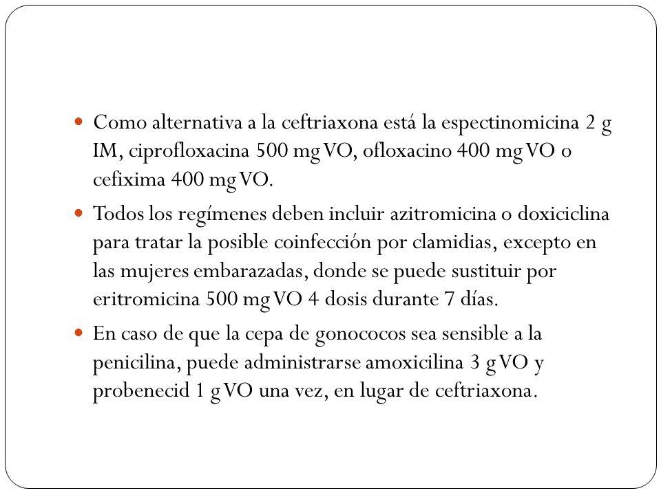 Como alternativa a la ceftriaxona está la espectinomicina 2 g IM, ciprofloxacina 500 mg VO, ofloxacino 400 mg VO o cefixima 400 mg VO. Todos los regím