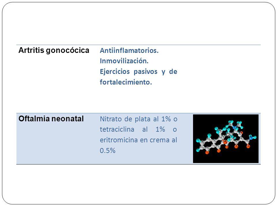 Artritis gonocócica Antiinflamatorios. Inmovilización. Ejercicios pasivos y de fortalecimiento. Oftalmia neonatal Nitrato de plata al 1% o tetraciclin