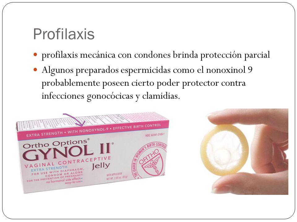 Profilaxis profilaxis mecánica con condones brinda protección parcial Algunos preparados espermicidas como el nonoxinol 9 probablemente poseen cierto