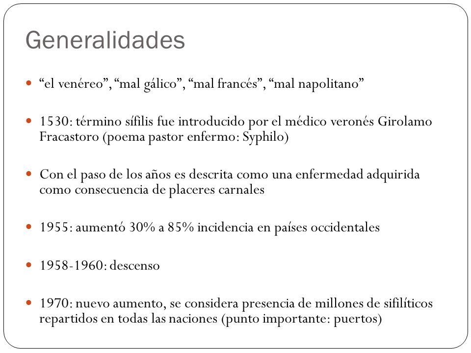 Generalidades el venéreo, mal gálico, mal francés, mal napolitano 1530: término sífilis fue introducido por el médico veronés Girolamo Fracastoro (poe