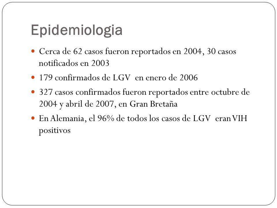 Epidemiologia Cerca de 62 casos fueron reportados en 2004, 30 casos notificados en 2003 179 confirmados de LGV en enero de 2006 327 casos confirmados
